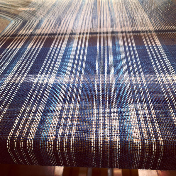 indigo dyed linen weaving